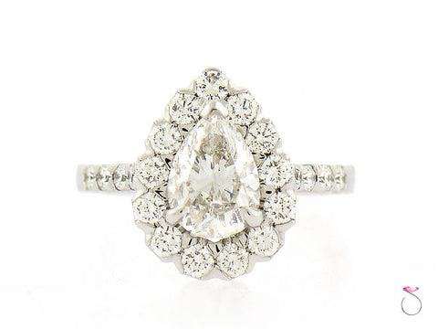 Pear Shape Diamond Engagement Halo Ring 3.05 ctw.