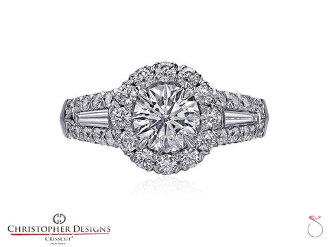 CD Fancy Halo Diamond Engagement Ring 56R-RD100