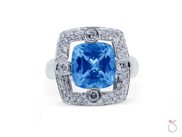 Blue Topaz Square Halo Diamond Ring online Sale Hawaii