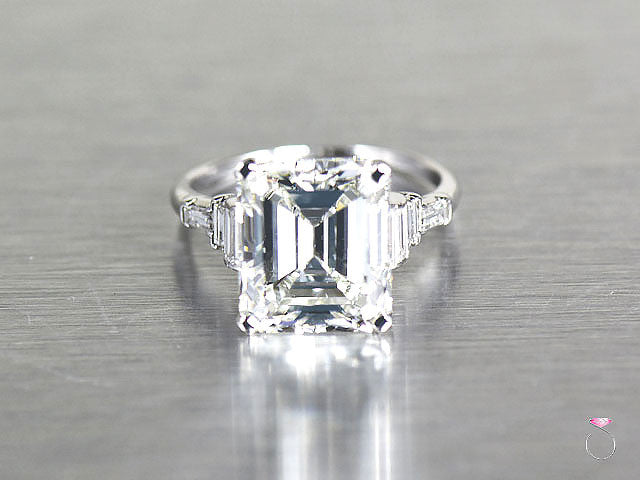 Art Deco 6.50 ct Emerald cut Diamond Ring in Platinum GIA Certified