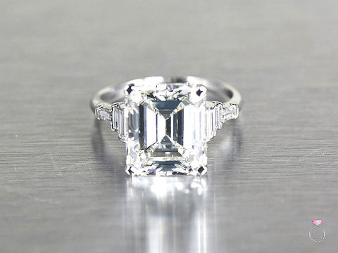 Art Deco 6.50 ct Emerald cut Diamond Ring in Platinum GIA Cert