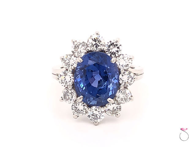 Natural 7.08ct Blue Ceylon Sapphire Diamond Halo Ring in Platinum