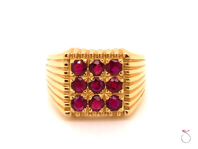 Mens Red Ruby Pinky Ring in 18K Yellow Gold.