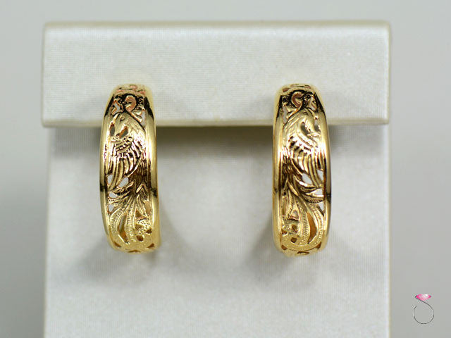 Ming's Hawaii Phoenix Huggie Hoop Earrings in 14K Yellow Gold