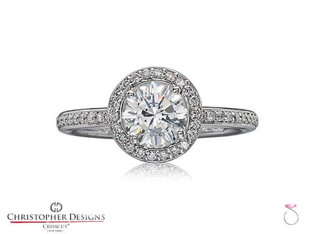 Christopher Designs Diamond Halo Engagement Ring Style 94R-RD075
