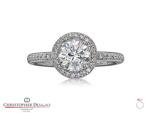 Christopher Designs Diamond Halo Engagement Ring Style: 94R-RD075