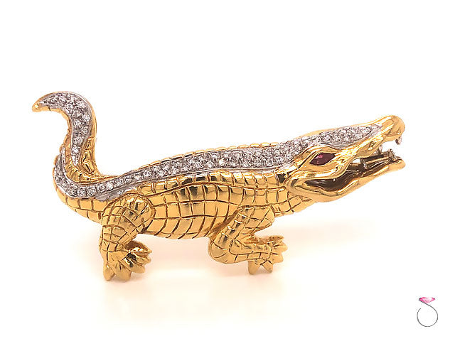 Vintage Piero Milano Alligator Diamond And Ruby Brooch