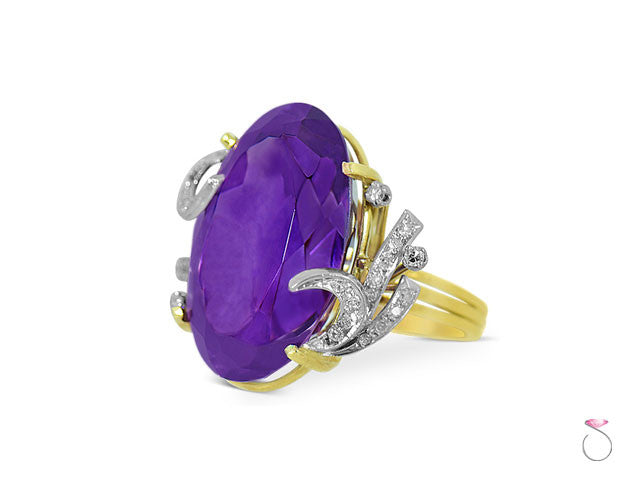 25ct Amethyst Victorian ring in 18K gold and Platinum