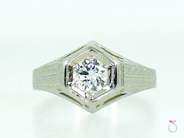 Vintage Art Deco Solitaire Diamond Engagement Ring, 18K White Gold