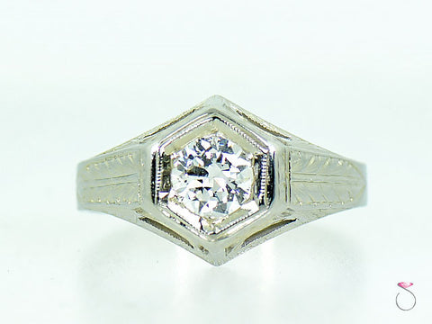 Vintage Art Deco Solitaire Diamond Engagement Ring