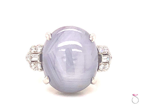 34.00 Ct. Star Sapphire and Diamond Antique Platinum Art-deco Ring