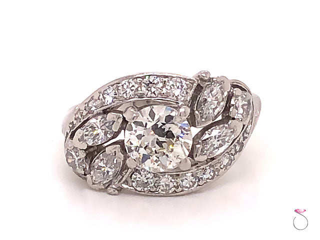 Art Deco Diamond Cluster Halo Platinum Engagement Ring