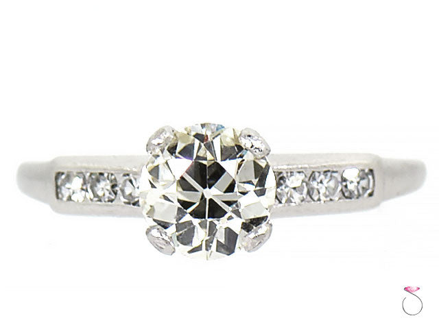 Art Deco Solitaire Diamond Engagement Ring, Platinum 1.24 ct.