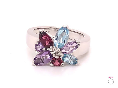 Louis Feraud Aquamarine, Amethyst and Garnet Cluster Ring