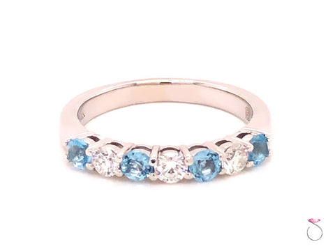 Aquamarine and Diamond Anniversary Band, Designer Ring in 14k White Gold