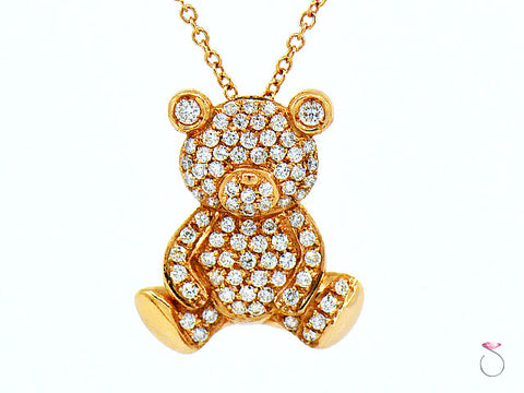 Diamond Teddy Bear Pendant 18K Rose Gold on 16 Inch Chain By Assor Gioielli