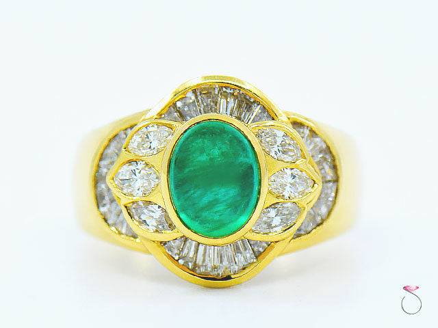 Emerald & diamond Designer Ring in 18K Yellow Gold By Assor Gioielli