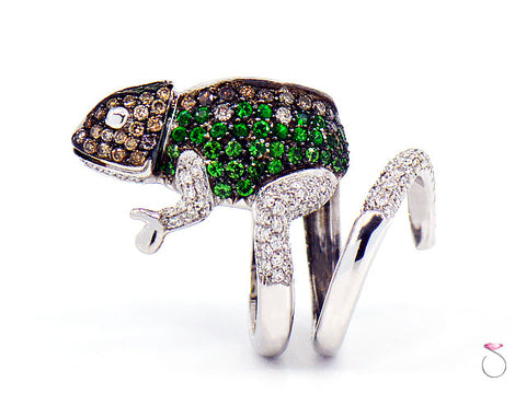 Diamond & Tsavorite Designer Chameleon Ring in 18K White Gold