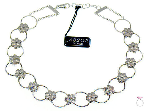 Diamond Flower Design Choker Necklace 18k Gold, 0.70 ctw. By Assor Gioielli