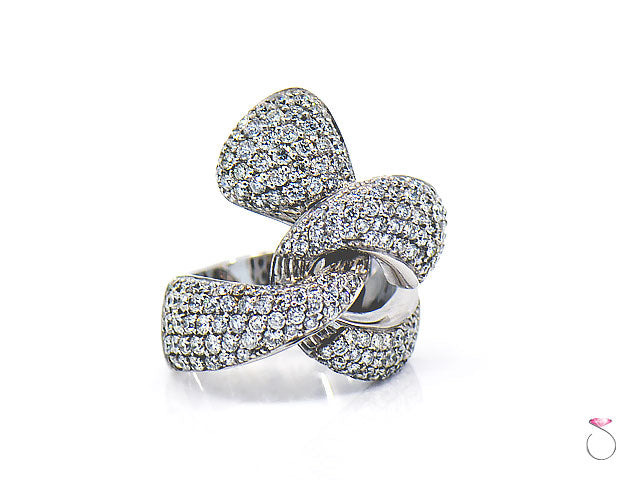 Diamond Ribbon Cocktail Ring 2.47 ct. G, VS in 18K White Gold By Assor Gioielli