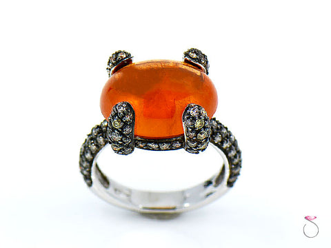 12.55 ct. Fire Opal & Pave' Diamond Designer Ring in 18K Gold By Assor Gioielli