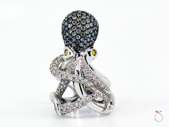 Diamond Designer Octopus Ring in 18K White Gold By Assor Gioielli