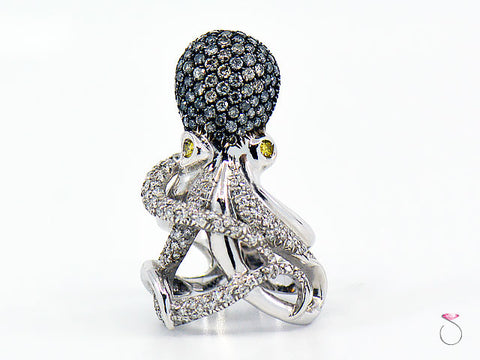 Diamond Designer Octopus Ring in 18K White Gold