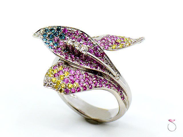 Pink Sapphire & Multi Color Diamond Designer Floral Ring in 18K White Gold By Assor Gioielli