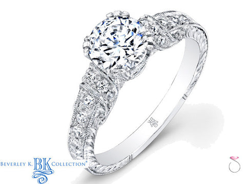 Beverley K Antique Style Engagement Ring 0.25ct 18K