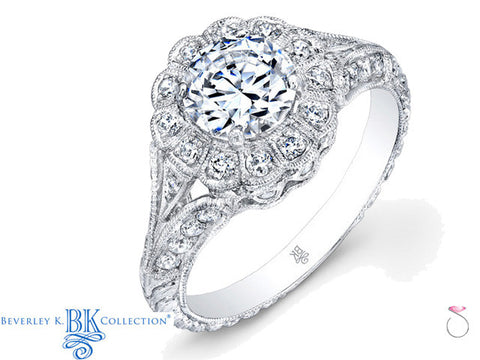 Beverley K Halo Vintage Engagement Ring Setting in 18K