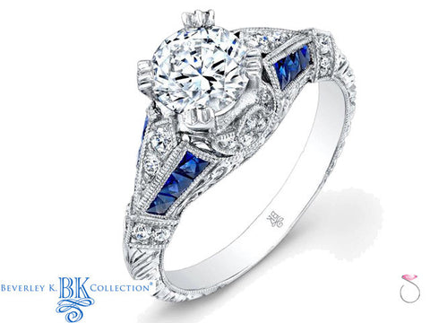 Beverley K Half Moon Diamond Sapphire Engagement Ring in 18K