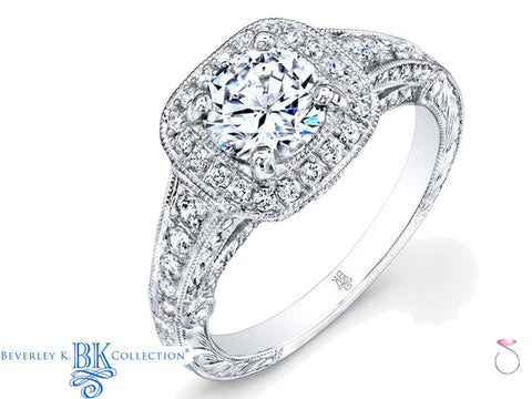 Beverley K Diamond Halo Engagement Ring Setting 0.75ct