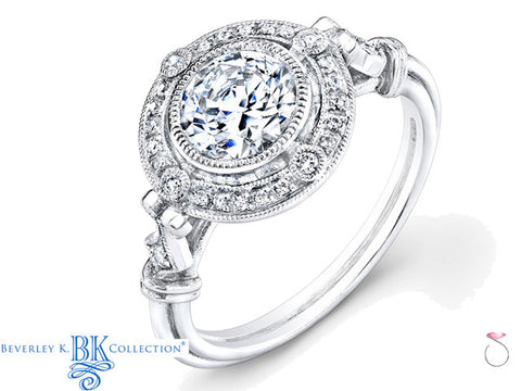 Beverley K Diamond Halo Engagement Ring Setting 18K