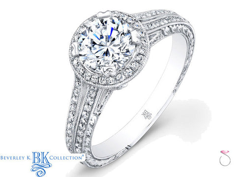 Beverley K Split Shank Semi-mount Engagement Ring in 18K