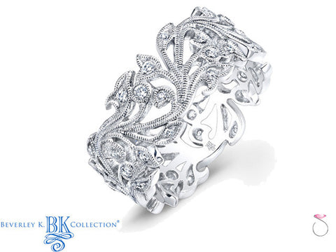 Beverley K Diamond Floral Milgrain Band 0.38ct in 18K