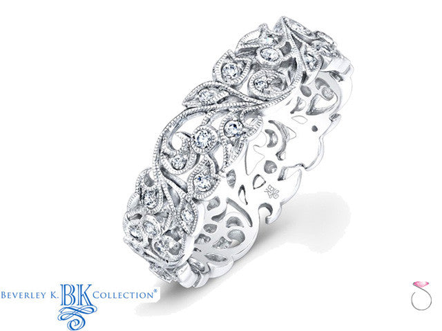 Beverley K Medium Floral Diamond Wedding Band Ring R811DD