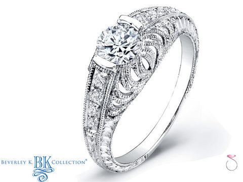 Beverley K Diamond Engraved Engagement Ring Setting in 18K