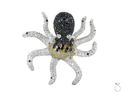 Black White Yellow Diamond Octopus Pendant in 18K Gold