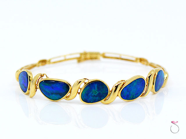 Lightning Ridge Black Opal Sectional Bracelet 14K Yellow Gold