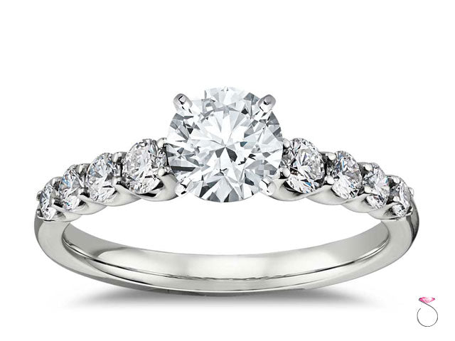 0.92 ct. H, VS1 Round Diamond Solitaire Engagement Ring with 0.41 ct. Accent Diamonds, GIA