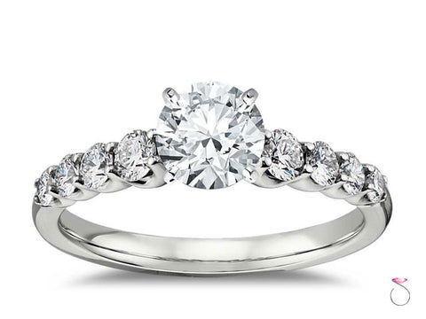 0.92 ct. H, VS1 Round Diamond Solitaire Engagement Ring with Accent Diamonds, GIA