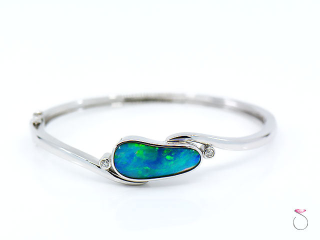 Australian Lightning Ridge black Opal Diamond Hinged Bangle Bracelet 18K White Gold