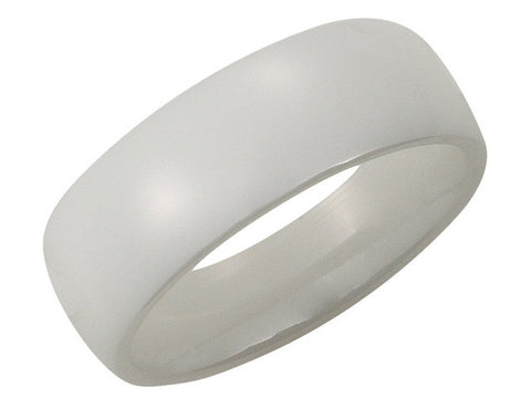 Ceramic Couture 8mm White Domed Men's Band