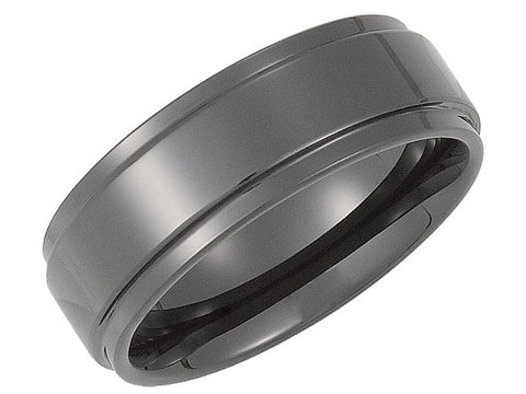 Ceramic Couture 8mm Ridged Men's Band