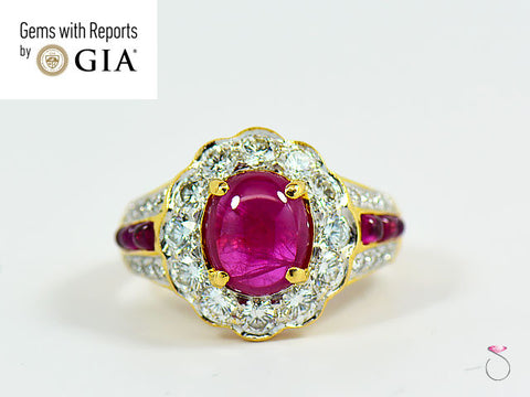 Natural Ruby Diamond Halo Ring in 18k Yellow Gold, 2.42 CT.