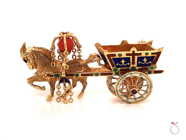 Vintage Italian Enamel and Coral, Horse & Carriage Brooch