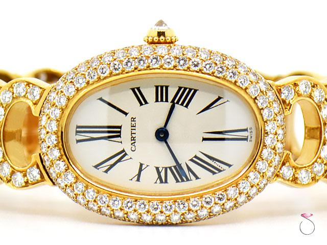 Cartier Baignoire 18K Original Diamond With Rare Logo Bracelet Watch. Ref. 1954