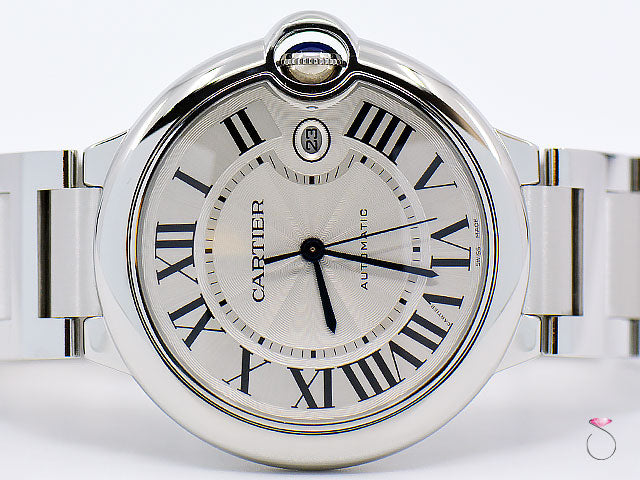CARTIER BALLON BLEU 42MM STAINLESS STEEL AUTOMATIC MEN'S WATCH, REF. 3765