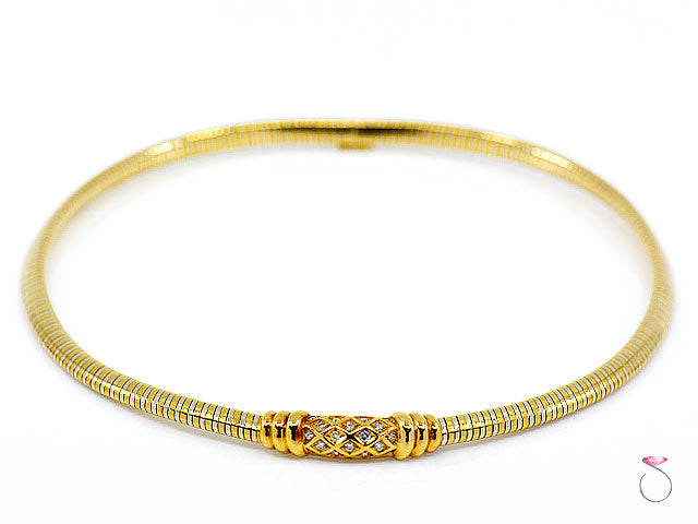 Vintage Cartier Tubogas 18K Two Tone Diamond Collar Necklace