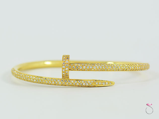 CARTIER JUSTE UN CLOU DIAMOND BRACELET, 2.26 CT. IN 18K YELLOW GOLD SIZE 17